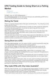 CFD Trading Guide to Going Short on a Falling Market