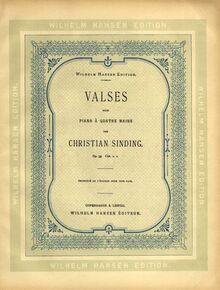 Partition couverture couleur, Valses, Walzer ; Waltzes, Sinding, Christian