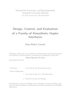 Design, control, and evaluation of a family of kinesthetic haptic interfaces [Elektronische Ressource] / Marc-Walter Ueberle