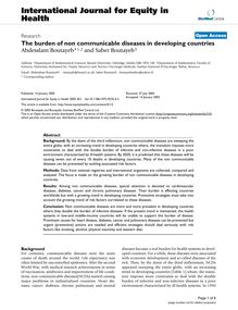The burden of non communicable diseases in developing countries