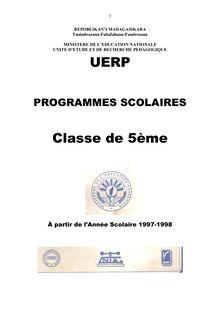 Programme Educatif Madagascar 5ème