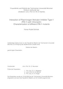 Interaction of plasminogen activator inhibitor type-1 (PAI-1) with vitronectin [Elektronische Ressource] : characterization of different PAI-1 mutants / Florian Rudolf Schröck