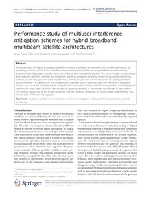 Performance study of multiuser interference mitigation schemes for hybrid broadband multibeam satellite architectures
