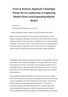 Frost & Sullivan Applauds ClearEdge Power for its Leadership in Capturing Market Share and Expanding Market Reach