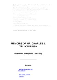 The Memoirs of Mr. Charles J. Yellowplush