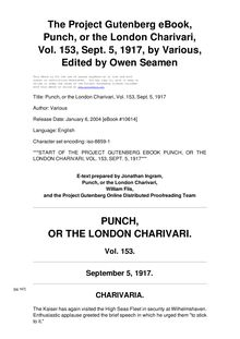 Punch, or the London Charivari, Volume 153, September 5, 1917