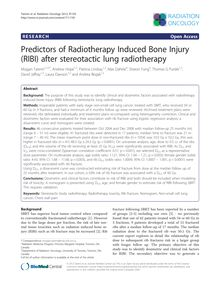 Predictors of Radiotherapy Induced Bone Injury (RIBI) after stereotactic lung radiotherapy