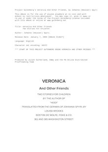 Veronica And Other Friends - Two Stories For Children