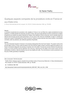 Quelques aspects comparés de la procédure civile en France et aux Etats-Unis - article ; n°4 ; vol.36, pg 783-825
