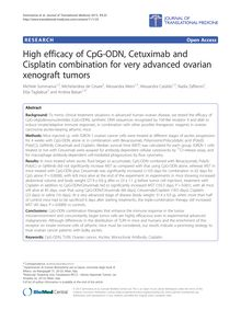 High efficacy of CpG-ODN, Cetuximab and Cisplatin combination for very advanced ovarian xenograft tumors