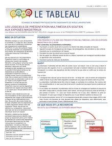 Les logiciels de présentation multimédia en soutien aux exposés magistraux
