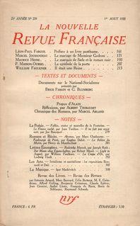 La Nouvelle Revue Française N° 239 (Aoűt 1933) - Collectifs