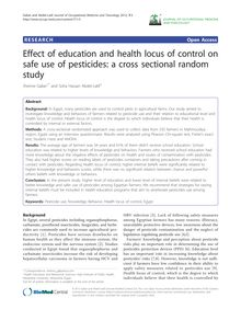Effect of education and health locus of control on safe use of pesticides: a cross sectional random study