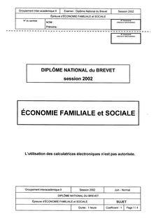 Brevet economie familiale et sociale 2002