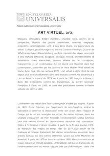 Définition de : ART VIRTUEL, arts - Thierry DUFRÊNE