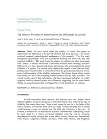 The effect of vividness of experience on sex differences in jealousy