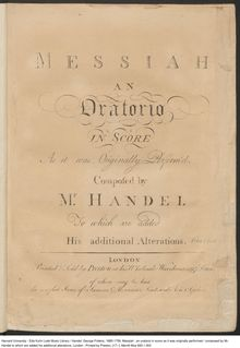 Partition , partie I, Messiah, Handel, George Frideric