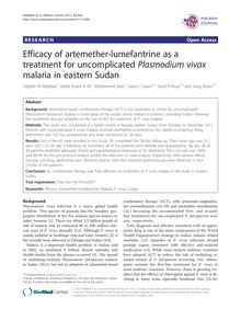 Efficacy of artemether-lumefantrine as a treatment for uncomplicated Plasmodium vivax malaria in eastern Sudan