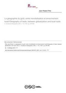La géographie du goût, entre mondialisation et enracinement local//Geography of taste, between globalization and local roots - article ; n°621 ; vol.110, pg 487-508