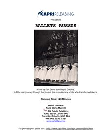 Press Kit for Ballets Russes, presented by Capri Releasing