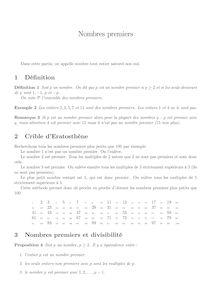 Cours sur les nombres premiers
