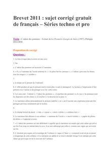 Brevet 2011 Techno Pro Francais Corrige