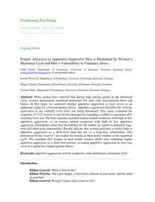 Female attraction to appetitive-aggressive men is modulated by women's menstrual cycle and men's vulnerability to traumatic stress