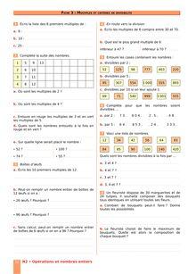 Chapitre N2 CM2 : Opérations sur les nombres entiers : Multiples et critères de divisibilité