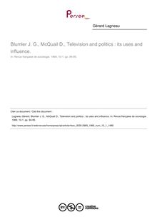 Blumler J. G., McQuail D., Television and politics : its uses and influence.  ; n°1 ; vol.10, pg 94-95