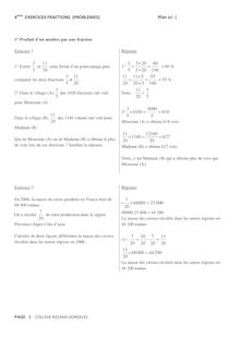 EXERCICES FRACTIONS (PROBLEMES) - 4 ème