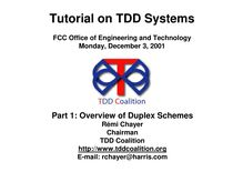Tutorial on TDD Systems