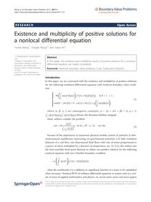 Existence and multiplicity of positive solutions for a nonlocal differential equation