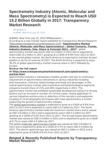 Spectrometry Industry (Atomic, Molecular and Mass Spectrometry) is Expected to Reach USD 15.2 Billion Globally in 2017: Transparency Market Research
