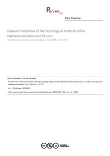 Research activities of the Sociological Institute of the Netherlands Reformed Church - article ; n°1 ; vol.8, pg 113-119