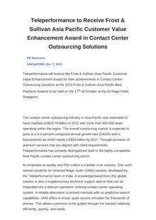 Teleperformance to Receive Frost & Sullivan Asia Pacific Customer Value Enhancement Award in Contact Center Outsourcing Solutions