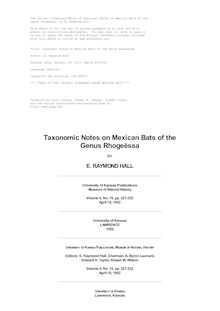 Taxonomic Notes on Mexican Bats of the Genus Rhogeessa