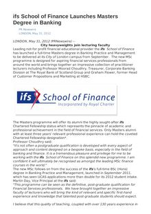 ifs School of Finance Launches Masters Degree in Banking