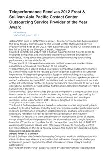 Teleperformance Receives 2012 Frost & Sullivan Asia Pacific Contact Center Outsourcing Service Provider of the Year Award