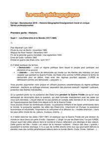 Baccalauréat Histoire-Géographie 2016 - Séries professionnelles