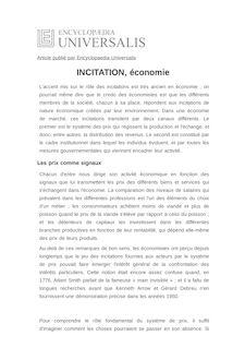 Définition de : INCITATION, économie - Bernard SALANIÉ