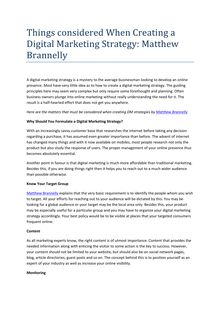 Things considered When Creating a Digital Marketing Strategy: Matthew Brannelly