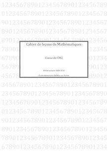 Cahier de leçons de Mathématiques CM2