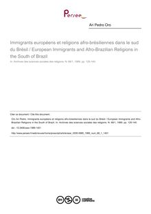 Immigrants européens et religions afro-brésiliennes dans le sud du Brésil / European Immigrants and Afro-Brazilian Religions in the South of Brazil - article ; n°1 ; vol.68, pg 125-140
