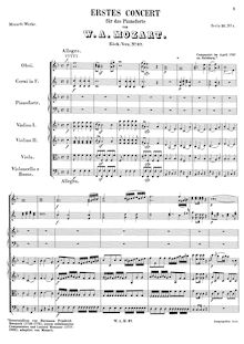 Partition , Allegro (after Hermann Friedrich Raupach), Piano Concerto No.1