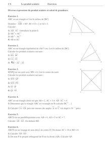 Exercices de mathématique sur les Produits scalaires