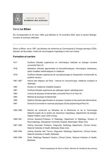 Notice biographique de Denis Le Bihan Membre de l