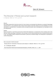 The Ninevite V Period and current research - article ; n°1 ; vol.11, pg 53-70