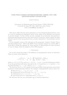 VERY WELL POISED HYPERGEOMETRIC SERIES AND THE DENOMINATORS CONJECTURE