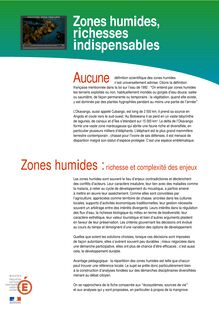 Zones humides, richesses indispensables