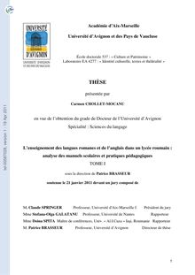 L'enseignement des langues romanes et de l'anglais dans un lycée roumain : analyse des manuels scolaires et pratiques pédagogiques, The teaching of Romance languages and of the English language in a Romanian High School : analysis of the school textbooks and of the pedagogical activity